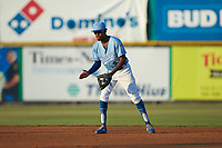 Burlington Royals shortstop Maikel Garcia (2) on defense against the Johnson City Cardinals at Burlington Athletic Stadium on September 3, 2019 in Burlington, North Carolina. The Cardinals defeated the Royals 7-2 to even Appalachian League Championship series at one game a piece. (Brian Westerholt/Four Seam Images)