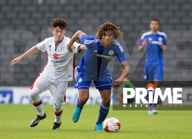 Nathan Ake of Chelsea in action under pressure from Connor Furlong of MK Dons during the Friendly match between MK Dons and Chelsea XI at stadium:mk, Milton Keynes, England on 3 August 2015. Photo by Andy Rowland.