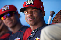 Batavia Muckdogs Thomas Jones (29) in the dugout during a game against the Tri-City ValleyCats on July 16, 2017 at Dwyer Stadium in Batavia, New York.  Tri-City defeated Batavia 13-8.  (Mike Janes/Four Seam Images)