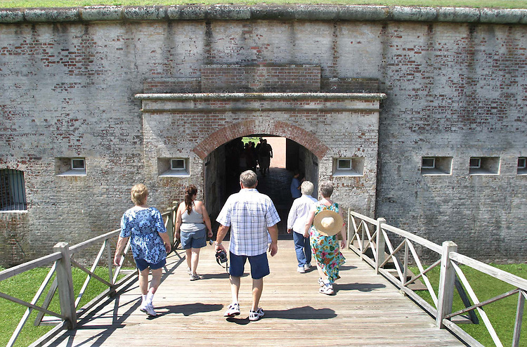 Fort Macon State Park is a state park in Carteret County.  Located near Atlantic Beach, the park opened in 1936. Fort Macon State Park is the most visited state park in North Carolina, with an annual visitation of 1.3 Million, despite being the 3rd smallest park in NC with 389 acres. The Battle of Fort Macon was fought there during March and April of 1862. Saturday, July 11, 2008. Beckley New_FortMaconTourist