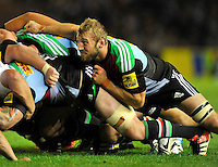 Twickenham, England. Chris Robshaw of Harlequins in action during the Aviva Premiership match between Harlequins and Saracens at Twickenham Stoop on September 12, 2014 in London, England.