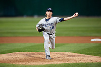 West Michigan Whitecaps relief pitcher Locke St. John (18) delivers a pitch during a game against the Peoria Chiefs on May 9, 2017 at Dozer Park in Peoria, Illinois.  Peoria defeated West Michigan 3-1.  (Mike Janes/Four Seam Images)