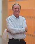 Microsoft president and chief legal officer Brad Smith gets ready to meet with Fernley middle school student Sky Yi in Fernley, Nevada on Tuesday, July 18 2017.