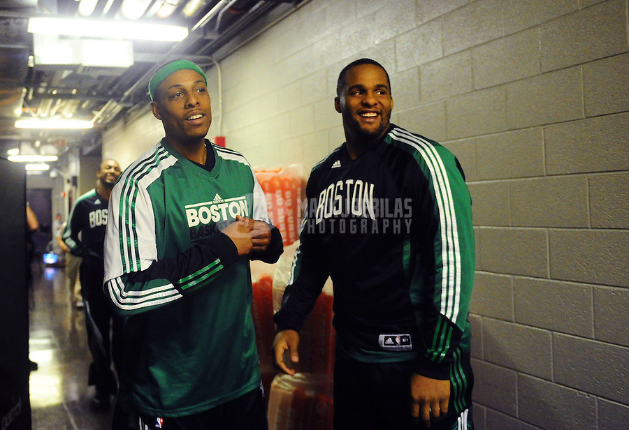 Jan. 28, 2011; Phoenix, AZ, USA; Boston Celtics forward Paul Pierce (left) and forward Glenn Davis against the Phoenix Suns at the US Airways Center. Mandatory Credit: Mark J. Rebilas-