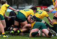 Rebecca Wood is stopped short of the tryline during the 2017 International Women's Rugby Series rugby match between the NZ Black Ferns and Australia Wallaroos at Rugby Park in Christchurch, New Zealand on Tuesday, 13 June 2017. Photo: Dave Lintott / lintottphoto.co.nz