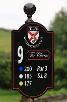 New sign at the 9th tee during the Preview of the AIG Cups & Shields Connacht Finals 2019 in Wesport Golf Club, Westport, Co. Mayo on Thursday 8th August 2019.<br /> <br /> Picture:  Thos Caffrey / www.golffile.ie<br /> <br /> All photos usage must carry mandatory copyright credit (© Golffile | Thos Caffrey)