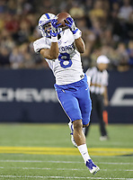 Annapolis, MD - October 7, 2017: Air Force Falcons wide receiver Marcus Bennett (8) catches a pass during the game between Air Force and Navy at  Navy-Marine Corps Memorial Stadium in Annapolis, MD.   (Photo by Elliott Brown/Media Images International)