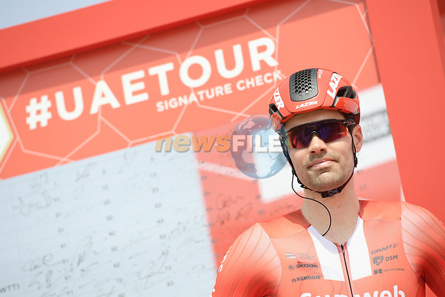 Tom Dumoulin (NED) Team Sunweb at sign on before the start of Stage 2 of the 2019 UAE Tour, running 184km form Yas Island Yas Mall to Abu Dhabi Breakwater Big Flag, Abu Dhabi, United Arab Emirates. 25th February 2019.<br /> Picture: LaPresse/Fabio Ferrari | Cyclefile<br /> <br /> <br /> All photos usage must carry mandatory copyright credit (© Cyclefile | LaPresse/MFabio Ferrari)