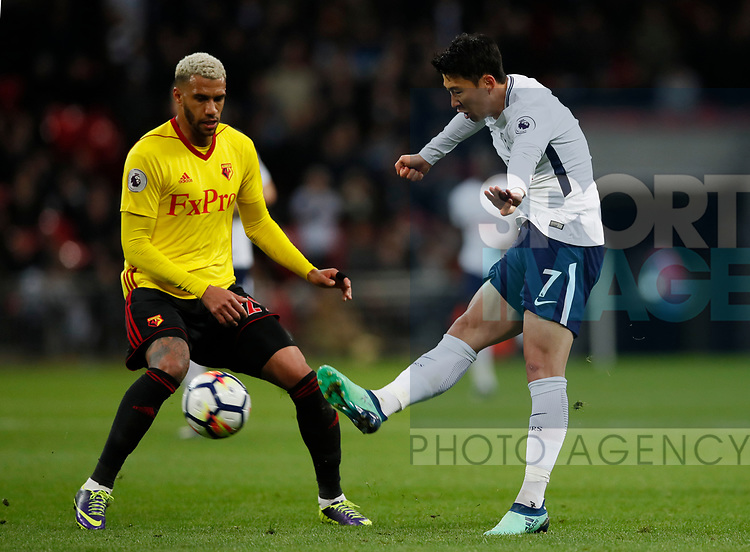 Son Heung-Min of Tottenham and Etiene Capoue of Watford during the premier league match at Wembley Stadium, London. Picture date 30th April 2018. Picture credit should read: David Klein/Sportimage