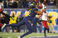 Morgantown, WV - November 20, 2016: West Virginia Mountaineers wide receiver Ka'Raun White (2) catches a touchdown pass during game between Oklahoma and WVU at  Mountaineer Field at Milan Puskar Stadium in Morgantown, WV.  (Photo by Elliott Brown/Media Images International)