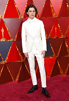 Timothée Chalamet arrives at the Oscars on Sunday, March 4, 2018, at the Dolby Theatre in Los Angeles. (Photo by Richard Shotwell/Invision/AP)
