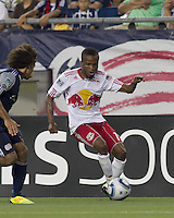 New York Red Bulls forward Dane Richards (19) dribbles. In a Major League Soccer (MLS) match, the New England Revolution tied New York Red Bulls, 2-2, at Gillette Stadium on August 20, 2011.
