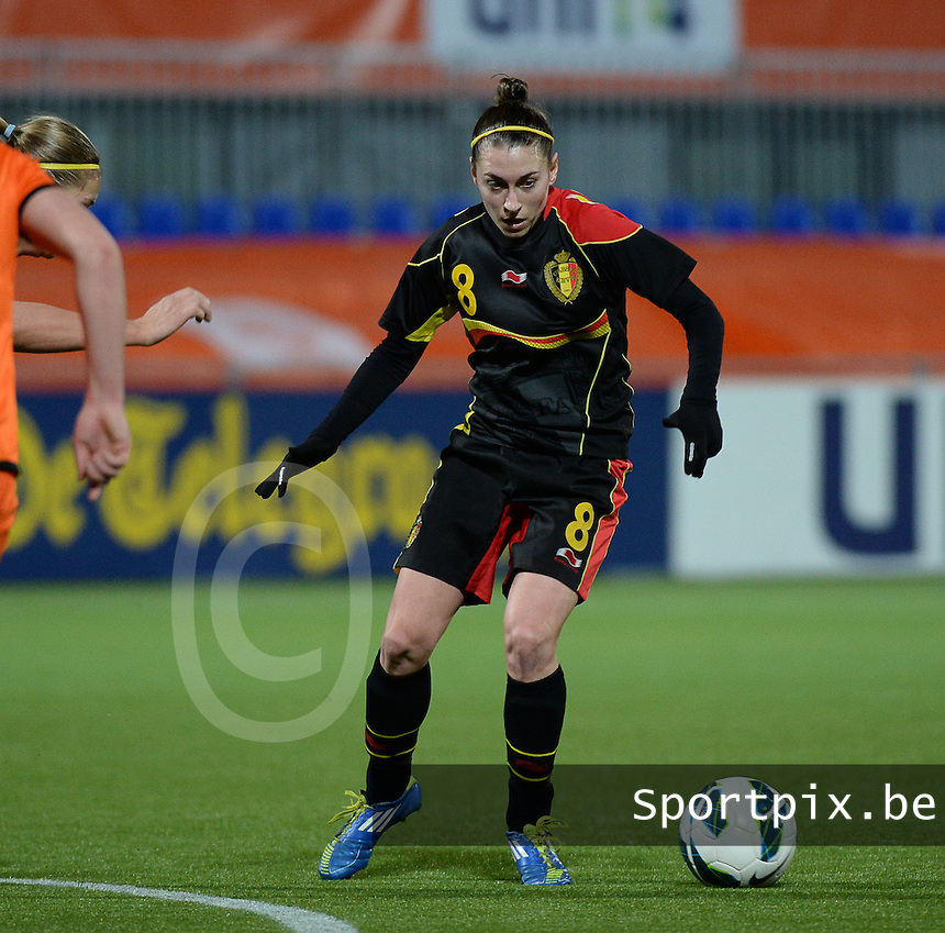 20140212 - ZWOLLE , THE NETHERLANDS : Belgian Audrey Demoustier pictured during the female soccer match between The Netherlands and Belgium , on the fifth matchday in group 5 of the UEFA qualifying round to the FIFA Women World Cup in Canada 2015 at Het Ijseldelta Stadion , Zwolle . Wednesday 12th February 2014 . PHOTO DAVID CATRY