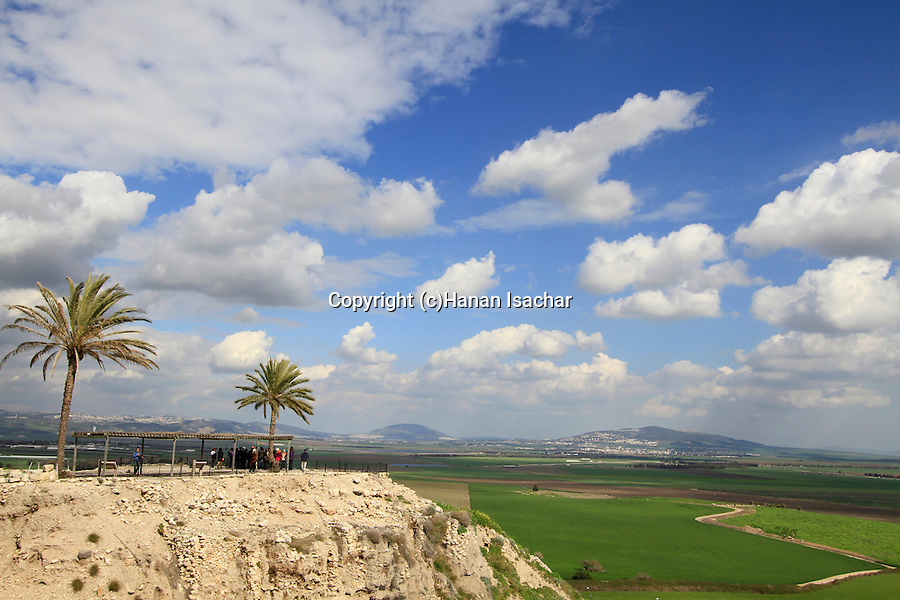 The biblical Tel Megiddo overlooking Jezreel Valley, Mount Tabor is in the background
