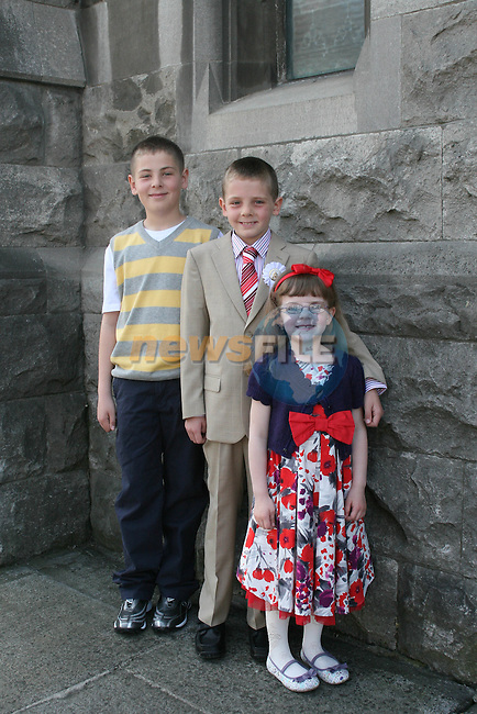 Jaymie, Luke and Stephanie Crone at the St. Marys Congress Avenue Communion in St. Marys Church...Photo NEWSFILE/Jenny Matthews.(Photo credit should read Jenny Matthews/NEWSFILE)....This Picture has been sent you under the condtions enclosed by:.Newsfile Ltd..The Studio,.Millmount Abbey,.Drogheda,.Co Meath..Ireland..Tel: +353(0)41-9871240.Fax: +353(0)41-9871260.GSM: +353(0)86-2500958.email: pictures@newsfile.ie.www.newsfile.ie.FTP: 193.120.102.198.