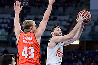 Real Madrid's Rudy Fernandez and Valencia Basket's Luke Sikma during Quarter Finals match of 2017 King's Cup at Fernando Buesa Arena in Vitoria, Spain. February 19, 2017. (ALTERPHOTOS/BorjaB.Hojas)