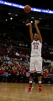Ohio State Buckeyes forward Martina Ellerbe (23) shoots a three in the first half against the Tennessee Martin Skyhawks at Value City Arena in Columbus Dec. 17, 2013.(Dispatch photo by Eric Albrecht)