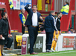 Motherwell v St Johnstone&hellip;13.08.16..  Fir Park  SPFL<br />Tommy Wright screams instructions<br />Picture by Graeme Hart.<br />Copyright Perthshire Picture Agency<br />Tel: 01738 623350  Mobile: 07990 594431