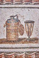 3rd century AD Roman mosaic depiction of a wine flagon & cup. Thysdrus (El Jem), Tunisia.  The Bardo Museum, Tunis, Tunisia.