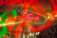 Neon fresh seafood sign. Seattle Washington United States.
