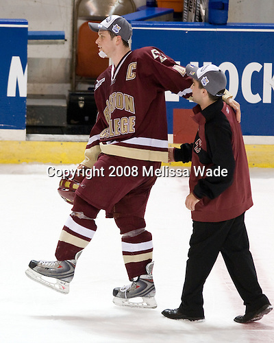 Mike Brennan (BC - 4), Justin Murphy (BC - Manager) - The Boston College Eagles defeated the Miami University RedHawks 4-3 in overtime on Sunday, March 30, 2008 in the NCAA Northeast Regional Final at the DCU Center in Worcester, Massachusetts.