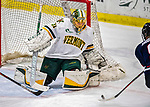 9 February 2020: University of Vermont Catamount Goaltender Blanka Škodová, a Sophomore from Šternberk, in the Czech Republic, makes a 3rd period save against the University of Connecticut Huskies at Gutterson Fieldhouse in Burlington, Vermont. The Lady Cats defeated the Huskies 6-2 in the second game of their weekend Hockey East series. Mandatory Credit: Ed Wolfstein Photo *** RAW (NEF) Image File Available ***