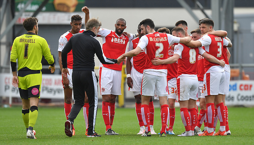 Fleetwood players celebrate escaping relegation<br /> <br /> Photographer Dave Howarth/CameraSport<br /> <br /> Football - The Football League Sky Bet League One - Fleetwood Town v Crewe Alexandra - Sunday 8th May 2016 - Highbury Stadium - Fleetwood    <br /> <br /> &copy; CameraSport - 43 Linden Ave. Countesthorpe. Leicester. England. LE8 5PG - Tel: +44 (0) 116 277 4147 - admin@camerasport.com - www.camerasport.com