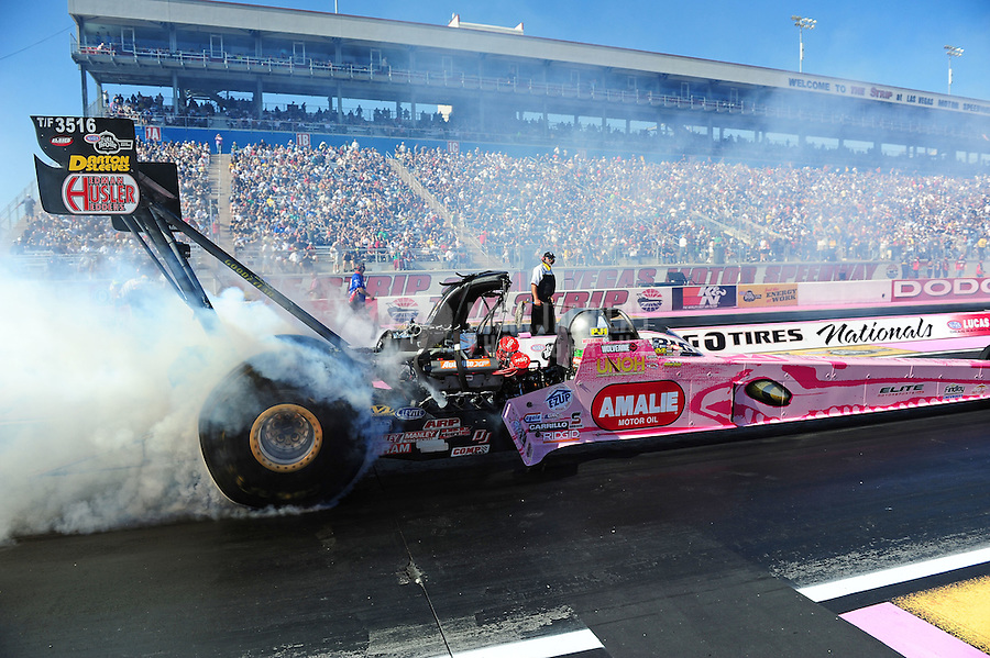 Oct. 29, 2011; Las Vegas, NV, USA: NHRA top fuel dragster driver Terry McMillen during qualifying for the Big O Tires Nationals at The Strip at Las Vegas Motor Speedway. Mandatory Credit: Mark J. Rebilas-
