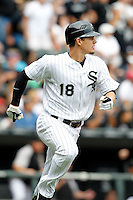 Chicago White Sox Brett Lillibridge #18 during a game against the Kansas City Royals at U.S. Cellular Field on August 14, 2011 in Chicago, Illinois.  Chicago defeated Kansas City 6-2.  (Mike Janes/Four Seam Images)