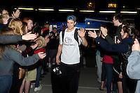 Feb 28, 2015; Spokane, WA, USA; Gonzaga Bulldogs guard Kevin Pangos (4) waves to the crowd after returning home from a game against the Duke Blue Devils at the McCarthey Athletic Center. Mandatory Credit: James Snook-USA TODAY Sports