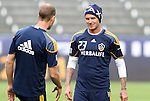 19 November 2011: David Beckham (ENG) (23) and Gregg Berhalter (left) . The Los Angeles Galaxy held a practice session at the Home Depot Center in Carson, CA one day before playing in MLS Cup 2011.