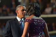 September 6, 2012  (Charlotte, North Carolina) President Barack Obama and first lady Michelle Obama on the last night of the 2012 Democratic National Convention in Charlotte.   (Photo by Don Baxter/Media Images International)