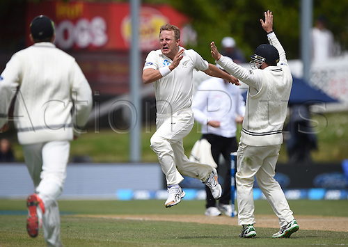14.12.2015. Dunedin, New Zealand.  Neil Wagner celebrates the wicket of Matthews during play on day 5 of the 1st cricket test match between New Zealand Black Caps and Sri Lanka at University Oval, Dunedin, New Zealand. Monday 14 December 2015.