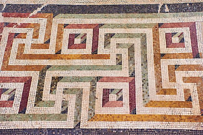 Roman Geometric  Swastica mosaic decorations of the Triclinium C, Villa Farnesia, Rome. Museo Nazionale Romano ( National Roman Museum), Rome, Italy.