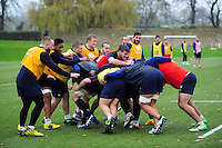 Bath Rugby forwards in action. Bath Rugby training session on November 22, 2016 at Farleigh House in Bath, England. Photo by: Patrick Khachfe / Onside Images