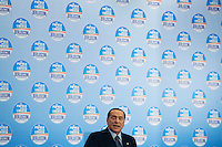 Milano: Silvio Berlusconi durante la conferenza stampa in Fiera Milano City ..Milan: Silvio Berlusconi speaks in press conference and announced he wants return the tax to families introduced by the government of Mario Monti
