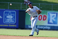 Pensacola Blue Wahoos shortstop Billy Hamilton #4 throws to first during  game one of a double header against the  Tennessee Smokies at Smokies Park on July 30, 2012 in Kodak, Tennessee. The Smokies defeated the Blue Wahoos 6-3 in game one and 3-2 in game two. (Tony Farlow/Four Seam Images).