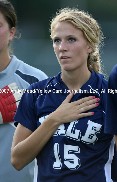 07 September 2007: Yale's Andrea Bouchard. The Duke University Blue Devils defeated the Yale University Bulldogs 1-0 at Fetzer Field in Chapel Hill, North Carolina in an NCAA Division I Women's Soccer game, and part of the annual Nike Carolina Classic tournament.