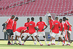 13 March 2008: All ten eligible Cuba players warm up, pregame. The Honduras U-23 Men's National Team defeated the Cuba U-23 Men's National Team 2-0 at Raymond James Stadium in Tampa, FL in a Group A game during the 2008 CONCACAF's Men's Olympic Qualifying Tournament.