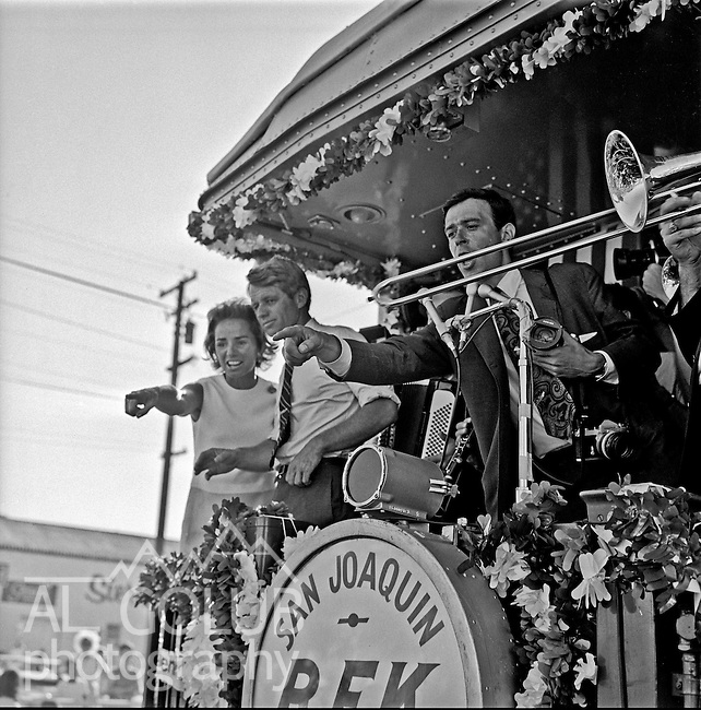"Modesto California, May 30th 1968..""RFK San Joaquin Daylight Special.""--RFK came through Modesto with his wife days before he was shot.  Robert Francis ""Bobby"" Kennedy (November 20, 1925 - June 6, 1968), also called RFK, was the United States Attorney General from 1961 to 1964 and a US Senator from New York from 1965 until his assassination in 1968. He was one of US President John F. Kennedy's younger brothers, and also one of his most trusted advisors and worked closely with the president during the Cuban Missile Crisis. He also made a significant contribution to the African-American Civil Rights Movement. .Photo by Al GOLUB/Golub Photography."