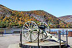 The waterfront landing on the Hudson River at Cold Spring, NY, in a late afternoon shot in autumn; the mountain behind the cannon is Crow's Nest Mountain.