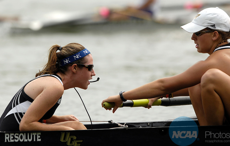 27 MAY 2007: The UCF team races towards the finish line of the Division I First Eights Third Final during the Division I Women's Rowing Championship held at the ORRA-Melton Hill Lake in Oak Ridge, TN. UCF finished in fourth place with a time of 7:03.18. Stephen Nowland/NCAA Photos