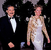 Fred M. Zeder, II, President, Overseas Private Investment Corporation and his wife, Martha, arrive at the White House in Washington, DC for the State Dinner in honor of President Patricio Aylwin of the Republic of Chile on Wednesday, May 13, 1992.<br /> Credit: Ron Sachs / CNP