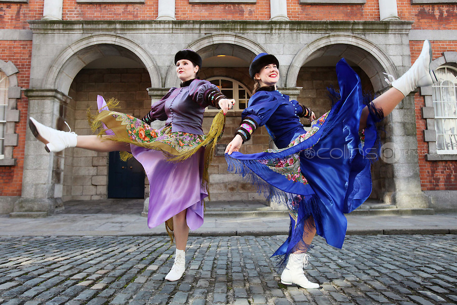 NO REPRO FEE. 3/3/2011. Dublin Russian Cultural Festival Family Day. Natallia Kabiak  (BLUE) and Elena Yakupara are pictured at Dublin city hall to launch Dublin Russian Cultural Festival Family Day. events taking place at the Family Day (Sunday, March 6th) at the Festival of Russian Culture.  The Family Day takes place on Cows Lane , Temple Bar, from 11am to 5pm on Sunday. Picture James Horan/Collins