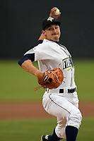 Starting pitcher Jake Simon (17) of the Columbia Fireflies delivers a pitch in a game against the Augusta GreenJackets on Saturday, April 7, 2018, at Spirit Communications Park in Columbia, South Carolina. Augusta won, 6-2. (Tom Priddy/Four Seam Images)