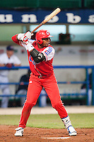 24 September 2009: Yoennis Cespedes of Cuba is seen at bat during the 2009 Baseball World Cup final round match won 5-3 by Team USA over Cuba, in Nettuno, Italy.