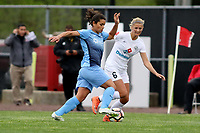 Piscataway, NJ - Sunday April 30, 2017: Raquel Rodriguez and Katie Bowen during a regular season National Women's Soccer League (NWSL) match between Sky Blue FC and FC Kansas City at Yurcak Field.