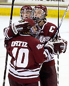 Will Ortiz (UMass - 10), Casey Wellman (UMass - 7), Justin Braun (UMass - 27) - The Boston College Eagles defeated the University of Massachusetts-Amherst Minutemen 6-5 on Friday, March 12, 2010, in the opening game of their Hockey East Quarterfinal matchup at Conte Forum in Chestnut Hill, Massachusetts.