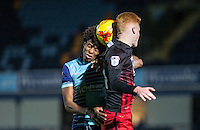 Sido Jombati of Wycombe Wanderers goes for the ball during the The Checkatrade Trophy Southern Group D match between Wycombe Wanderers and Coventry City at Adams Park, High Wycombe, England on 9 November 2016. Photo by Andy Rowland.