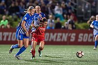 Boston, MA - Sunday September 10, 2017: Megan Oyster and Hayley Raso during a regular season National Women's Soccer League (NWSL) match between the Boston Breakers and Portland Thorns FC at Jordan Field.